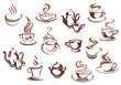 Vintage brown coffee cups and pots - 76761212
