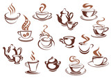 Vintage brown coffee cups and pots poster