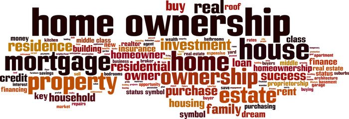 Home ownership word cloud concept. Vector illustration