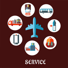 Airport service flat icons and symbols