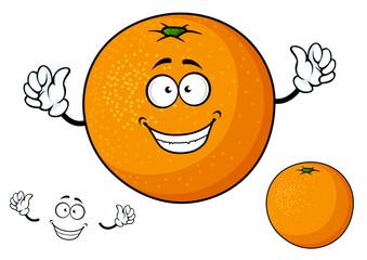 Cartoon funny juicy orange fruit