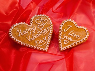 Saint Valentine's heards from gingerbread