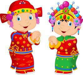 Cartoon Chinese kids wearing Chinese traditional costume
