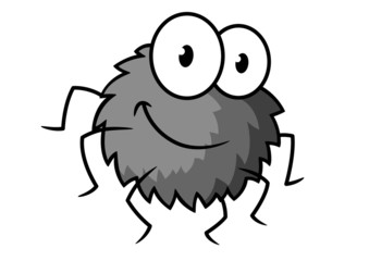 Cartoon cute gray little spider character