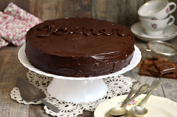Chocolate cake ''Sacher'',austrian cuisine.