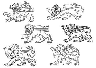 Vintage heraldic lions set