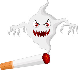 Cigarette with monster in smoke