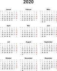 Kalender 2020 universal - ohne Feiertage