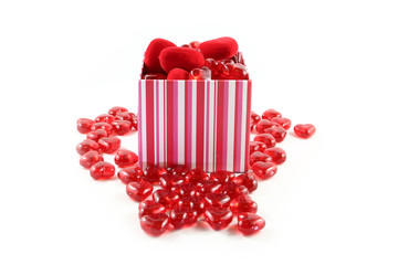 Valentine Giftbox Overflowing with Hearts on White Background
