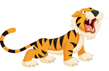 Cartoon tiger roaring