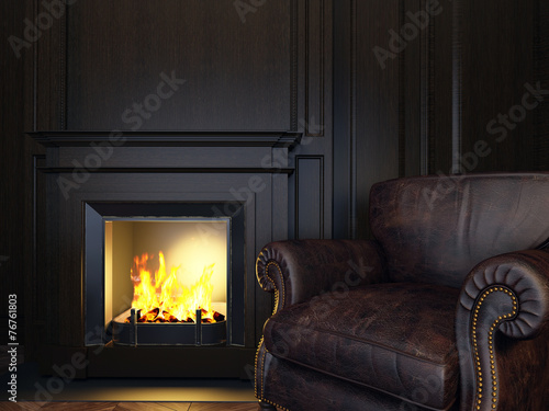Foto op Plexiglas Wand armchair and fireplace
