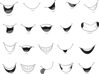 Set of smiling mouth