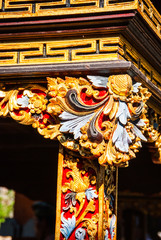 Detail of colorful pattern in hindu temple, Bali