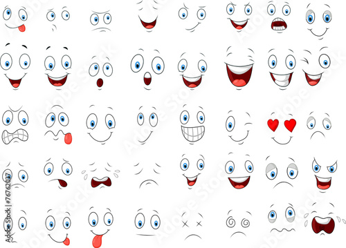 Cartoon of various face expressions - 76762037