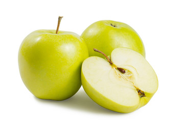 Two green apples with half