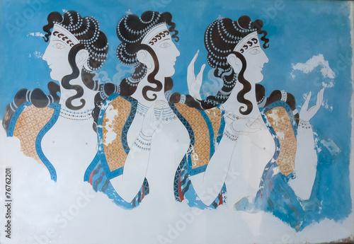Leinwandbild Motiv Aged fresco of three women profiles in Knossos
