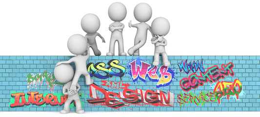 Web Consultancy. The dude 3D character x6 on Graffiti wall.