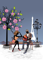Romantic couple with a guitar sitting on the bench