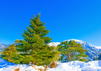 Beautiful landscape scene with snow on Ziria mountain in Greece