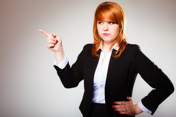 business woman pointing with finger