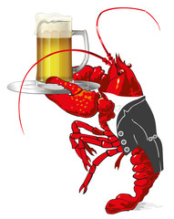 Cancer or lobster with mug with beer