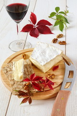 Brie, soft French  cow's milk cheese, autumn leaves and a winegl