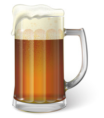 Mug of ale. Dark beer. Vector