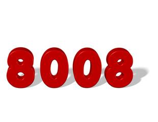 kırmızı renkli 8008 sayısı