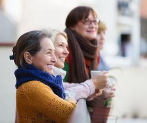 Female having tea on terrace
