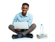 Happy african american college student sitting with laptop on wh - 76769052