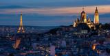 Tour Eiffel et Sacré Coeur au coucher de soleil - 76769464