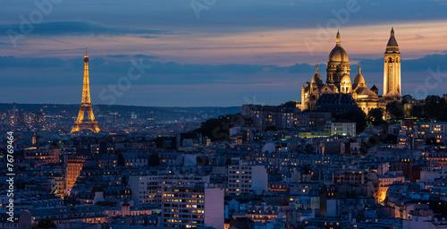 Plagát, Obraz Tour Eiffel et Sacré Coeur au coucher de soleil