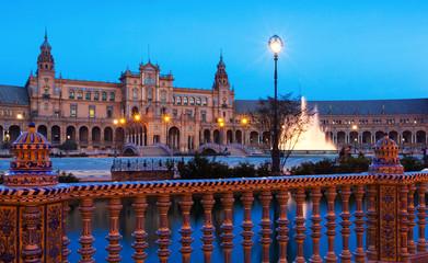 twilight view of Plaza de Espana
