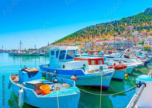 Aluminium traditional fishing boats at main port of Kalymnos island Greece