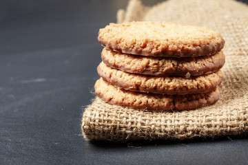 Closeup of stack biscuit cookies on table