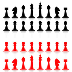Red and black chess. Flat design