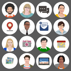 People Diversity Portrait Social Media Icon Vector
