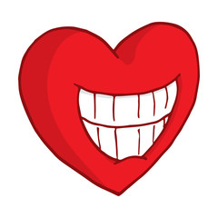 Smiling heart showing teeth