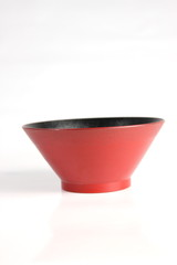 Red salad bowl isolated