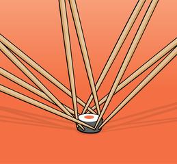 Chopsticks fighting for single roll sushi piece
