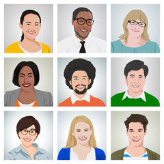 People Diversity Portrait Cheerful Happiness Friendship Vector
