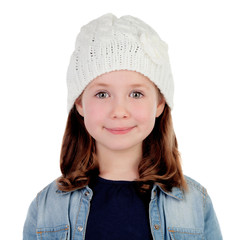 Smiling pretty girl with wool cap
