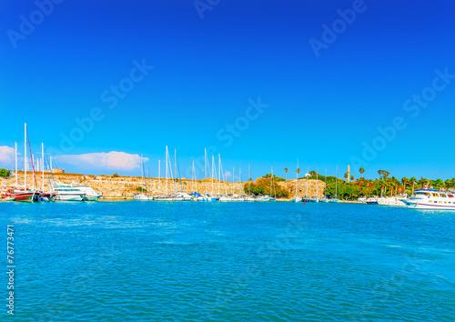 Leinwanddruck Bild the main old port of Kos island in Greece
