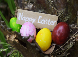 colorful easter eggs on the tree