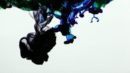 Colorful Paint Ink Drops Splash in Underwater in Water Pool
