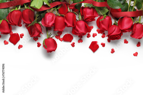 Red roses and heart shape ornaments - 76774096
