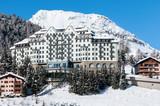 Mountain ski resort with snow in winter, St. Moritz, Alps