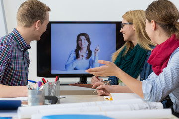 Business people having online meeting