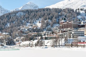St. Moritz, Alps, Switzerland. Mountain ski resort with snow in