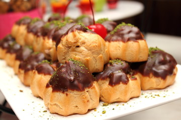 Eclair with chocolate sweet dessert.
